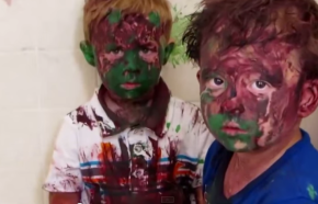 Hilarious video of Dad's interrogation of paint covered toddlers